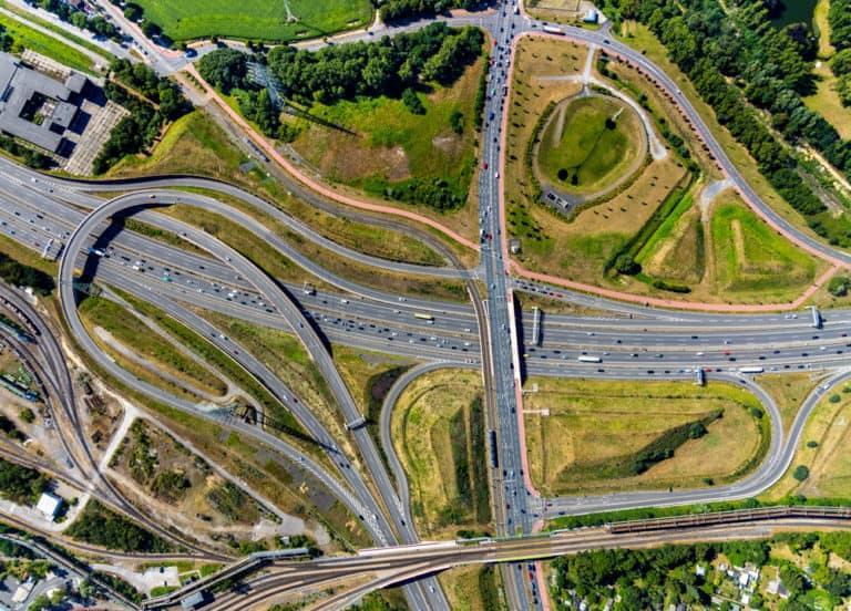 Luftbildfotograf Hans Blossey Luftaufnahmen Bochum Luftbild vom Autobahndreiecke A448 und Autobahn A40 , Bochum, Ruhrgebiet, Nordrhein-Westfalen, Deutschland